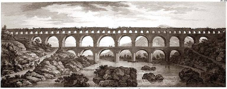 1804-Engraving-of-Pont-du-Gard-showing-the-dilapidated-state-of-the-bridge-at-the-time