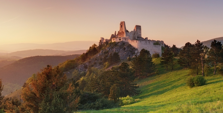 Panorama sunset - ruin of castle Cachtice, Slovakia
